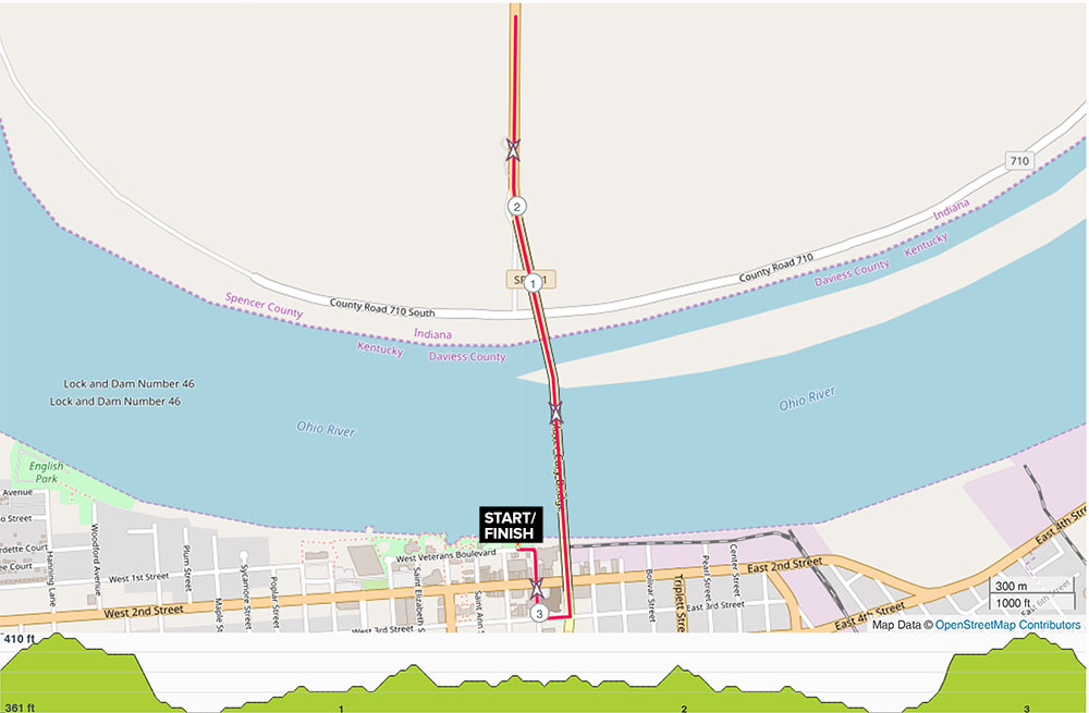 Bridge Run 5K Course Map
